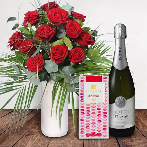 Roses With Love Gift Set Flowers Delivered - What's more special than receiving the classic gift of one dozen luxurious roses? Long stemmed Grade A roses, expertly hand-tied and gift wrapped are sure to make your special someone feel amazing.