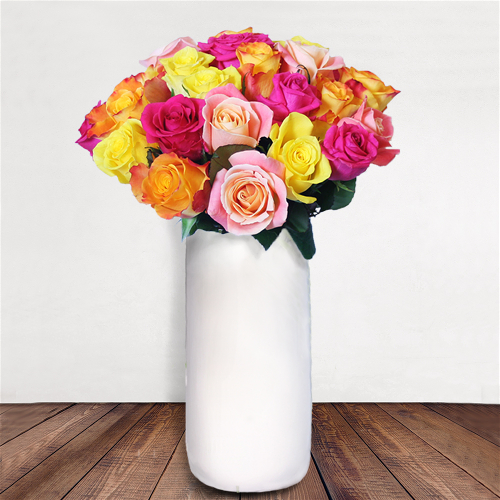 Your lover's heart will surely be on fire when they receive this bouquet of mixed roses. We offer same day flower delivery to Dublin and next day flower delivery to anywhere in Ireland. Valentine's Day is extremely busy and our products are limited in quantity. Please order early to avoid disappointment