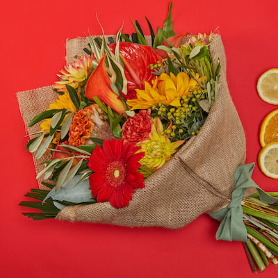 Fruits Of Napa Valley Flowers Delivered - Bloom Magic - Flower Delivery Ireland - A warm and bright bouquet of gerbera, sunflowers and calla lillies. Always the freshest flowers. Available for flower delivery anywhere in Ireland.