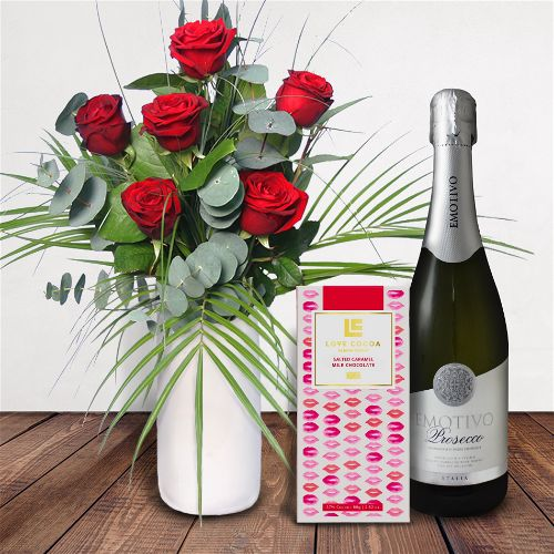 Half Dozen Roses Gift Set Flowers Delivered - What's more special than receiving the classic gift of six luxurious roses? Long stemmed Grade A roses, expertly hand-tied and gift wrapped are sure to make your special someone feel amazing.