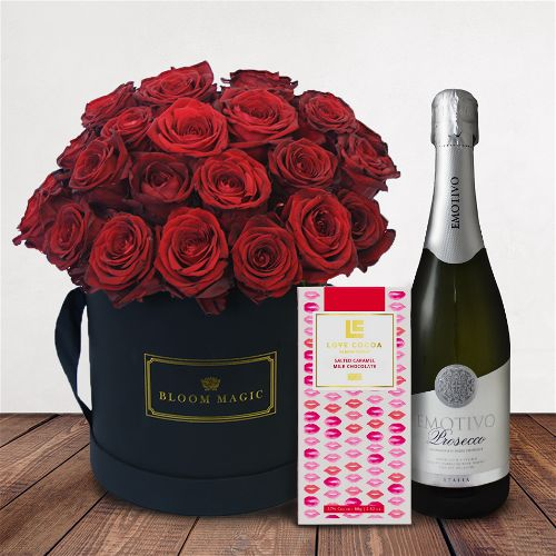 Romance Sur La Seine Gift Set Flowers Delivered - Our signature Hatbox flower arrangement featuring stunning red roses immaculately arranged and presented in your choice of a matte black or pearl white large hatbox.