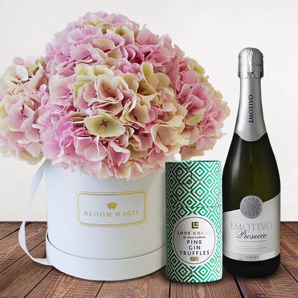 RÊve De Fleurs Giftset Flowers Delivered - Our September Special is a joyful mix of white and pink hydrangea. The 'Rêve de fleurs' is a limited edition hatbox that is destined to impress. 