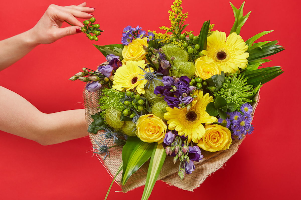 Bloom Magic - Flower Delivery Ireland - A wonderful bouquet of yellow roses, yellow gerbera and purple september flowers. Featuring exotic greenery and beautifully hand-tied, this is sure to please. Flower delivery available anywhere in Ireland. Same day