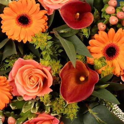 This flower arrangement consists of blooming orange and peach flowers that make it the perfect bouquet to add warmth and vibrance to any home.  We can offer next day delivery to anywhere in London, and the UK.