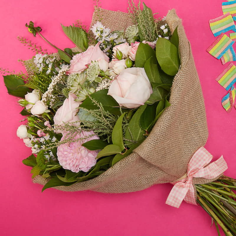 Bloom Magic - Flower Delivery Ireland - You can't go wrong with the Sweet Santa Barbara bouquet. This flower bouquet is always one of our most popular arrangements. Featuring pink wild roses and tender blushes of scabiosa, this carefully hand-arranged bou