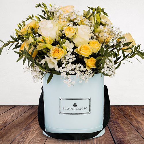 Bonjour Mon Ami Flowers Delivered - White & butter roses arranged with cream freesia create this unique and blossoming bouquet. Stand out from the crowd and  send these delightful blooms to loved ones to show them just how much you care. Whatever the occasion, the 'Bonjour Printemps' is the perfect pick me up.