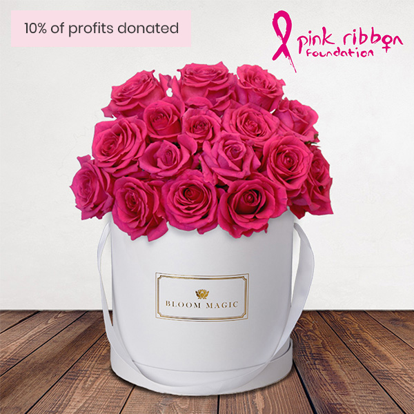 Ma Chérie Flowers Delivered - Sending a bouquet this month? Look no further than our stunning 'Ma Cherie' arrangement. 10% of the profits from this limited edition 18 cerise rose hatbox will be donated to the fabulous Pink Ribbon foundation UK. 