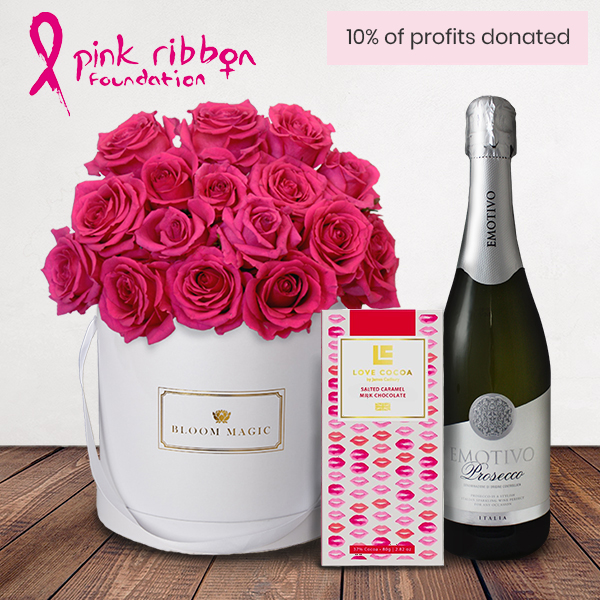 Ma Chérie Gift Set Flowers Delivered - Sending a bouquet this month? Look no further than our stunning 'Ma Cherie' arrangement. 10% of the profits from this limited edition 18 cerise rose hatbox will be donated to the fabulous Pink Ribbon foundation UK. 