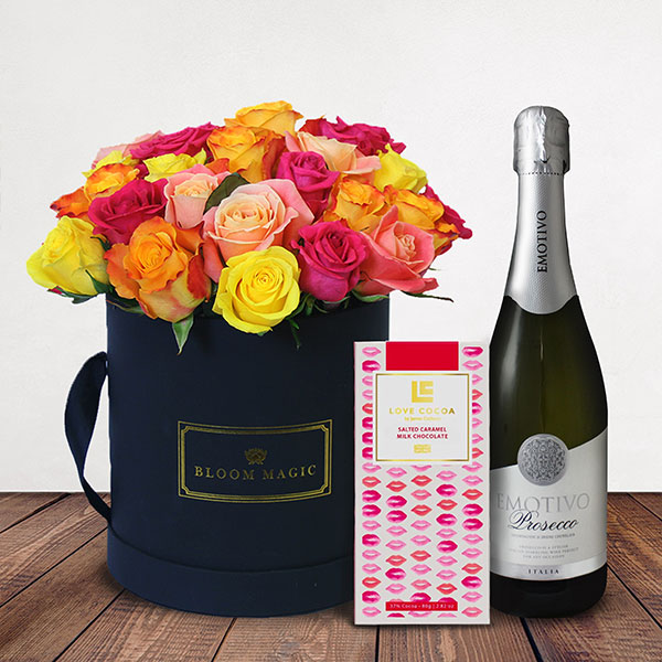 Fiery Romance Gift Set Flowers Delivered - A stunning mix of 24 vibrant roses with prosecco & chocolates. An exciting alternative to the classic red rose for those seeking a unique gift to send this Valentines.