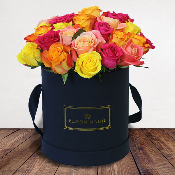 Fiery Romance Flowers Delivered - A stunning mix of 24 vibrant roses. An exciting alternative to the classic red rose for those seeking a unique gift to send this Valentines.