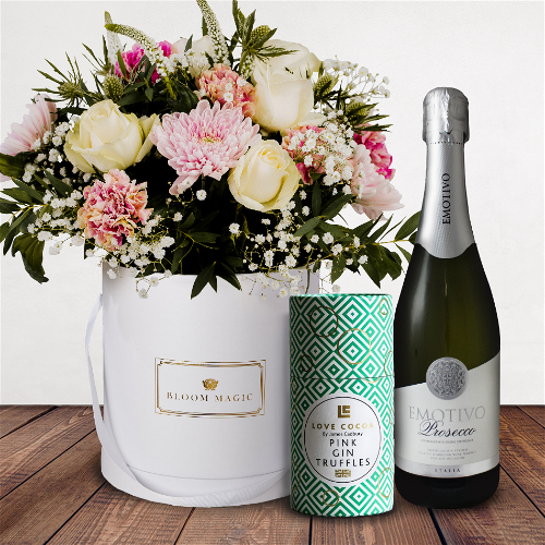 Le Petit Palais Gift Set Flowers Delivered - With a delicate combination of white rose, veronica and antique carnation, 'Le Petit Palais' is a set of truly mesmerising blooms. A captivating bouquet for those hoping to make a big impression. Giftset comes complete with a bottle of prosecco as well as luxury Love Cocoa pink gin truffles.