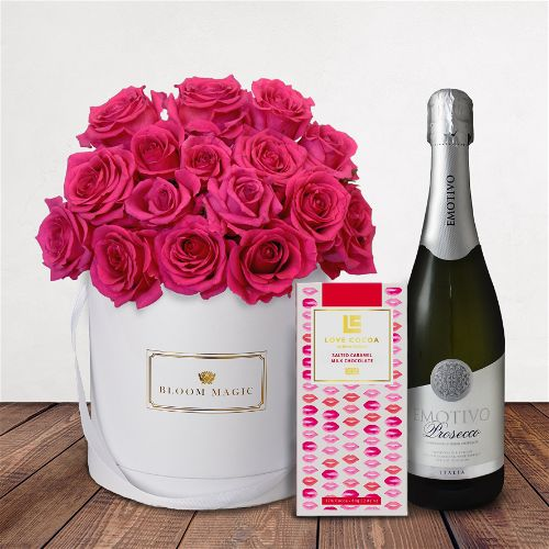 Ma Chérie Gift Set Flowers Delivered - Stunning 18 cerise rose hatbox. Giftset comes complete with a bottle of prosecco as well as a luxury Love Cocoa Salted Caramel Chocolate Bar.